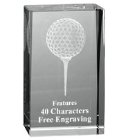 3D Golf Crystal Paperweight