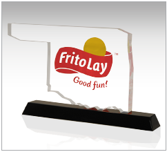 custom shaped acrylic with company brand and slogan