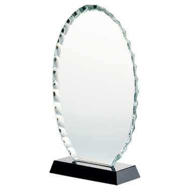 "8 1/4"" JADE OVAL CRYSTAL AWARD"