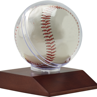 BASEBALL HOLDER ON WOOD BASE