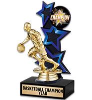 Three Star Backdrop Blue Insert Trophy