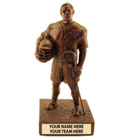 Determined Male Lacrosse Player Sculpture Trophy