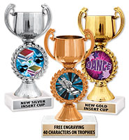 "7 1/4"" Gold, Silver, Bronze Chaplet Cup Trophies"