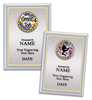 Silver Metalized Plaque With Gold Border