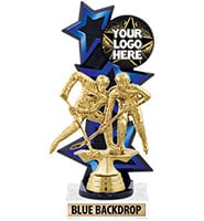 Three Star Backdrop Blue Custom Insert Trophy