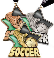 "2 1/4"" Soccer Dark Stained Glass Medals"