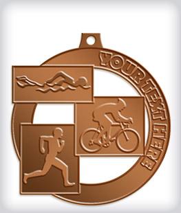 Antique Bronze Custom Triathlon Medals