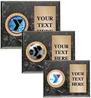 YMCA Black Marbleized Horizontal Plaque