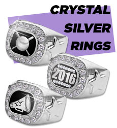 Championship Crystal Silver Rings