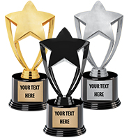"8"" Gold, Silver & Black Star Deluxe Trophy"