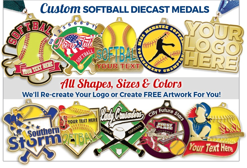 Custom Softball Diecast Medals