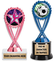 Blue and Pink Olympia Insert Trophies