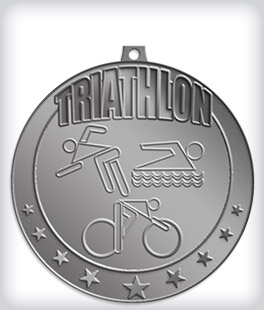 Antique Silver Custom Triathlon Medals
