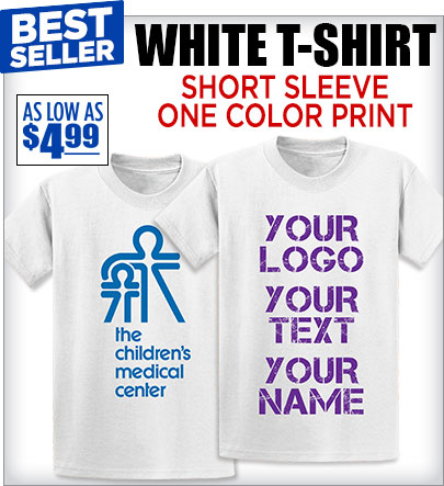 405665883 Short Sleeve White T-Shirts One Color Logo