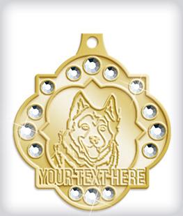 Shiny Gold Custom Rhinestone Medals