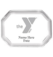 YMCA Beveled Octagon Acrylic Paperweight