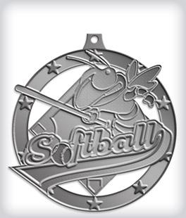 Antique Silver Custom Softball Medals