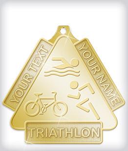 Shiny Gold Custom Triathlon Medals