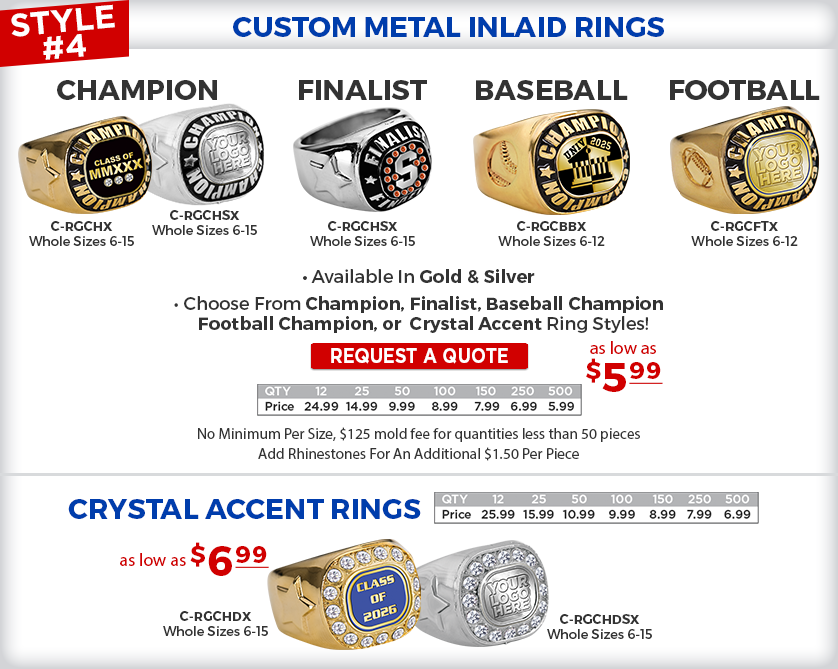 Custom Metal Inlaid Rings