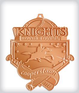 Shiny Bronze Custom Baseball Medals