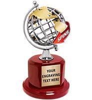 Geo Spinning Metal Globe Trophy
