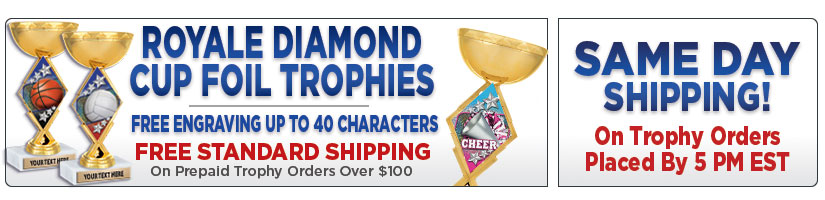 "7 1/4"" Royale Diamond Foil Cup Trophy"