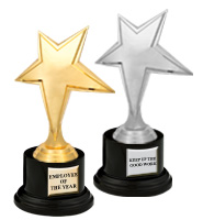 "8"" Gold & Silver Luminary Star Deluxe Trophy"