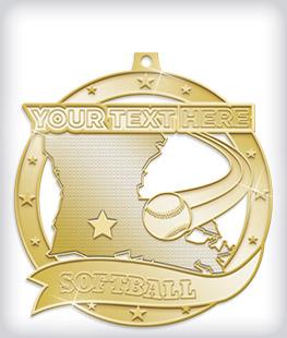 Shiny Gold Custom Softball Medals