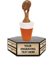 "10"" Fantasy Football Beer Hexagon Base Perpetual Trophy"
