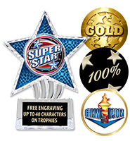 "6"" Blue Cosmic Icicle Star Insert Trophy"