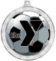 """2 1/2"""" YMCA Silver Glitter Insert Medal"""