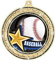 "2 ¾""  Black Star Trail Glitter Insert Medal"