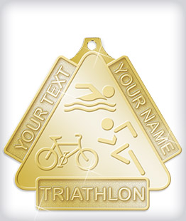 Shiny Gold Custom Triathlon Medals