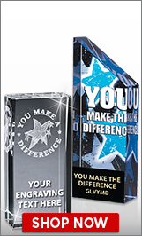 You Make A Difference Crystal Trophies