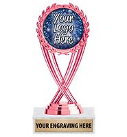 "6 1/4"" Pink Olympia Custom Insert Trophy"