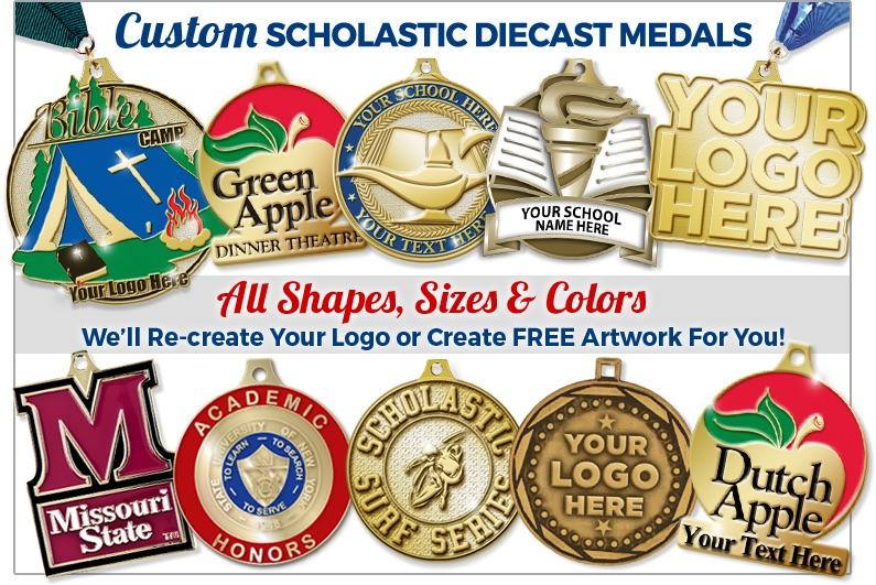 3-D Gold Scholastic Medals