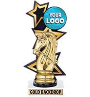Three Star Backdrop Gold Custom Insert Trophy