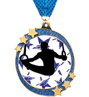 "2 1/2"" Blue Glitter Shooting Star Medals"