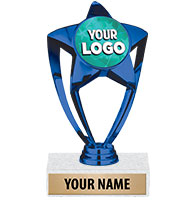 "6"" Blue Star Custom Insert Trophy"