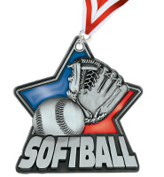 "2 1/4"" Softball Red Stained Glass Medals"