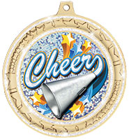 """2 ¾""""  White Star Trail Glitter Insert Medal"""