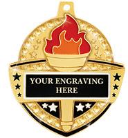 "2 1/4"" Royal Torch Engravable Medal"