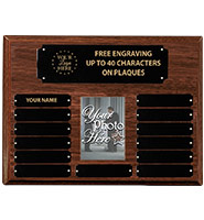 Walnut Perpetual Photo Plaque With Metal Plates