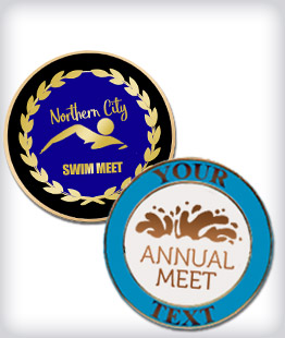 Custom Semi Cloisonne Swimming Pins