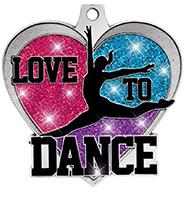 """2 1/4"""" Love To Dance Glitter Medal"""