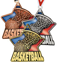 "2 1/4"" Basketball Stained Glass Medals"