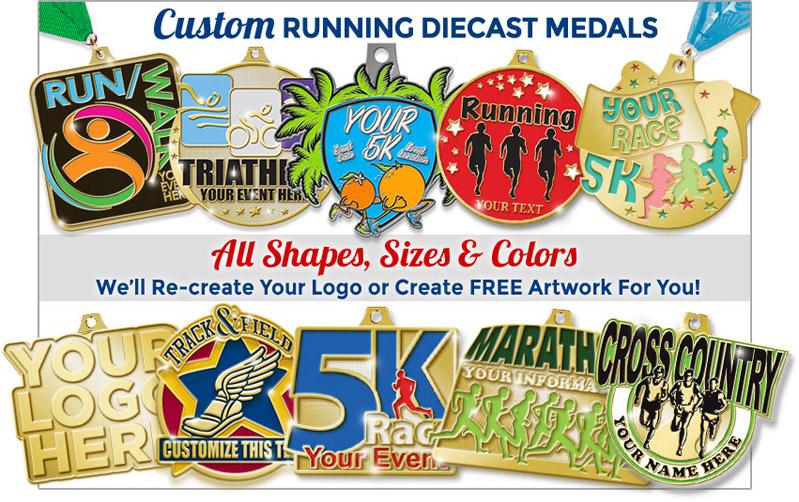 Custom Running Diecast Medals