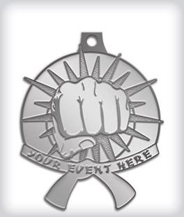 Antique Silver Custom Martial Arts Medals
