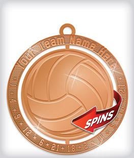 Shiny Bronze Custom Spinning Medals