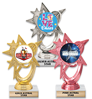 "6"" Gold, Silver & Pink Astral Star Insert Trophies"